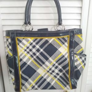 Beautiful Talbot's Handbag in Navy & Yellow Plaid